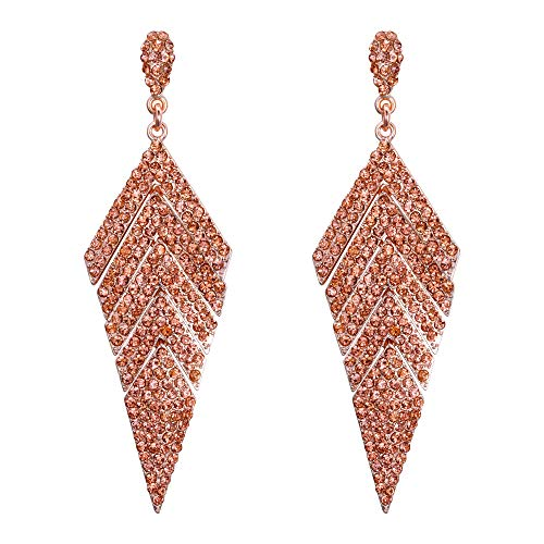 EVER FAITH Women's Crystal Banquet Multi-layered Rhombus Dangle Earrings Champagne Rose ()