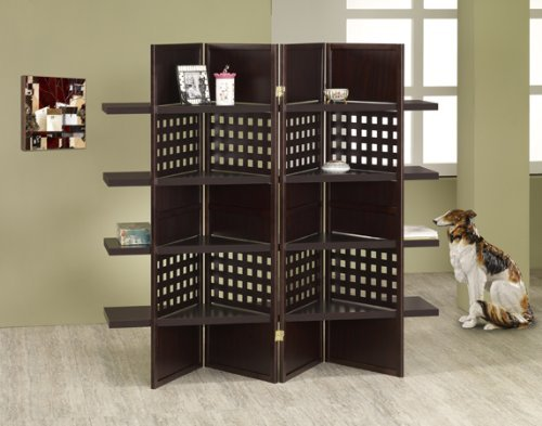 4 panel espresso finish wood room divider shoji screen with 4 shelves in the center by A&D