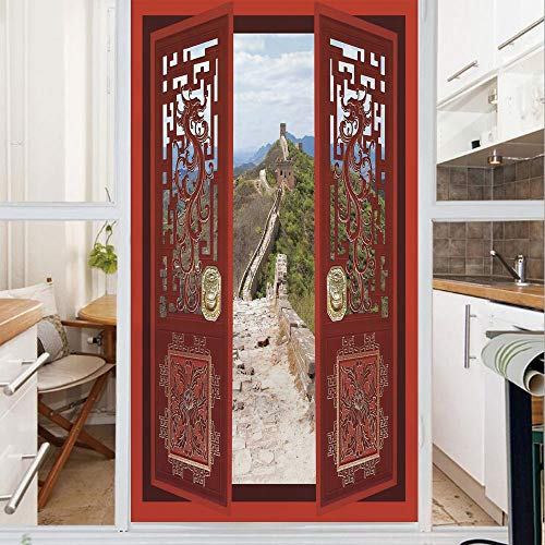 Decorative Window Film,No Glue Frosted Privacy Film,Stained Glass Door Film,Gates with Ornament Great Wall of China Famous Historic Structure,for Home & Office,23.6In. by 47.2In Multicolor