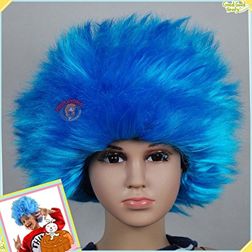 [Bliss Pro's Blue Staright Children's Afro Wig Halloween Costume Party Wig 70's 80's] (Toddler 80s Costumes)