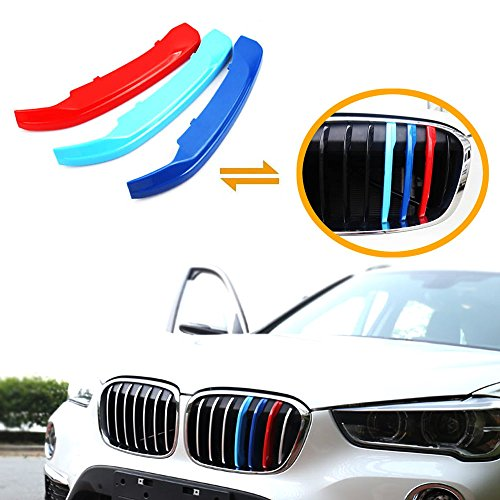 iJDMTOY Exact Fit///M-Colored Grille Insert Trims For 2016-up BMW X1 Front Center Kidney Grilles (7 Beams)