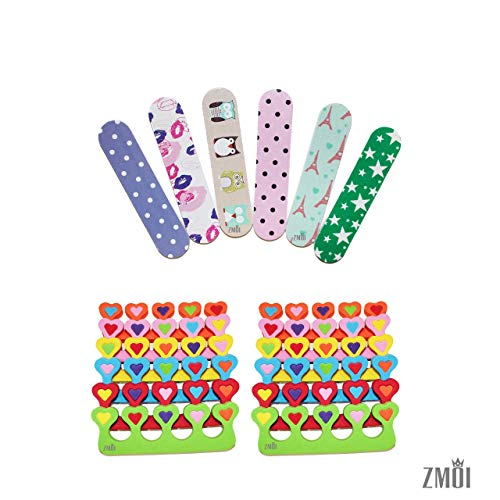 (ZMOI 6 Pieces Colorful Girly Mini Emery Nail Files + 6 Pairs Heart Design Toe Separators Manicure/Pedicure Kit )