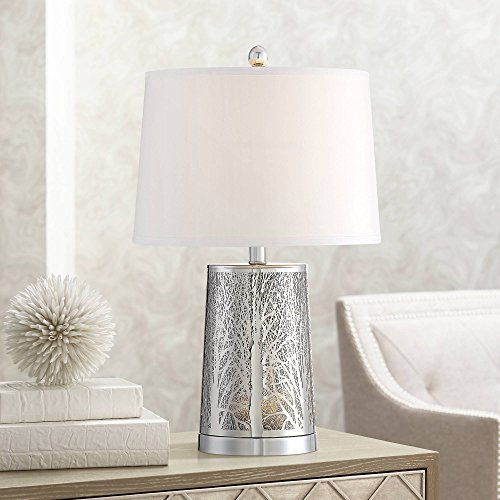 (Marin Modern Table Lamp with Nightlight LED Laser Cut Silver Base Tapered Drum Shade for Living Room Bedroom Bedside Nightstand Office Family - 360 Lighting)