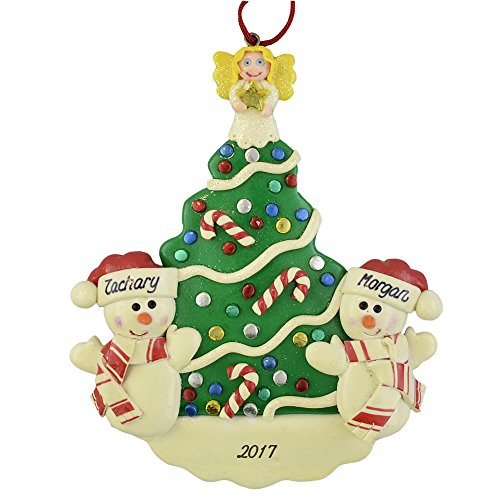 Snowmen (2) Christmas Tree Personalized Ornament - Siblings Twins Best Friends A Couple -Calliope Designs - Brothers and Sisters - Best Friends - 5