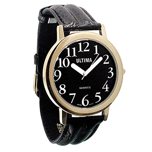(Ultima Low Vision Watch - Black Dial - White Numbers - Leather-Unisex)