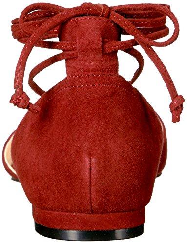 Nove Delle Donne Dellovest Alice Suede Punta Piatta Rosso Scuro