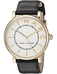 Marc Jacobs Womens Roxy Quartz Stainless Steel and Leather Casual Watch, Color:Black (Model: MJ1532)