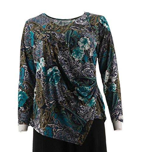 Susan Graver Printed Liquid Knit Top Side Zipper A285422, Teal, XL