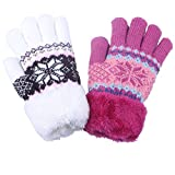 2Pairs Pink White Children's Girl Boy Snowflake Pattern Warm Winter Thermo Insulate Gloves