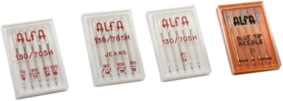 Alfa - Agujas para máquina de coser 4 estuches, acero inoxidable
