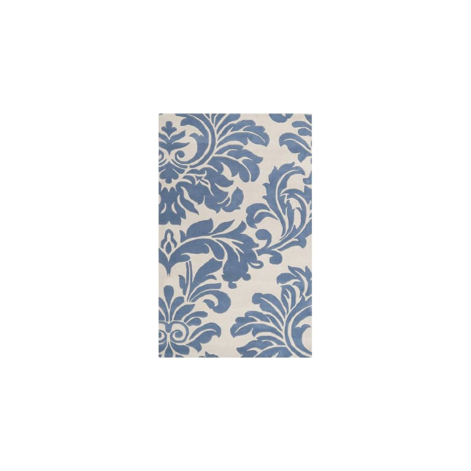 10 x 14 Falling Leaves Damask Slate Blue and Off White Wool Area Throw Rug