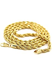 L & L Nation Mens 24K Yellow Gold Filled L & L Nation Necklace 5mm