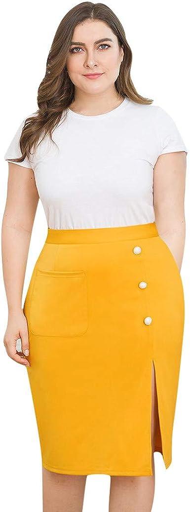 Conquro-falda con Abertura de Botones de Bolsillo de Color sólido ...