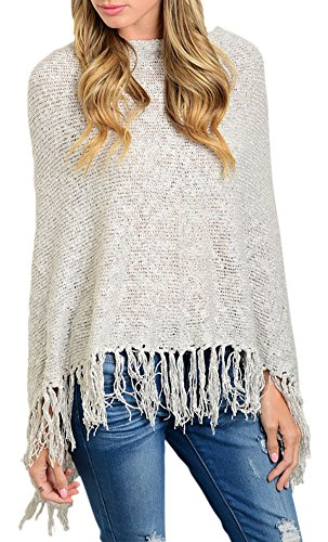 Shawl Style Cardigan Fringes Long Sleeve Knitted Sweater Winter Top - LightGray (Sequin Argyle Sweater)