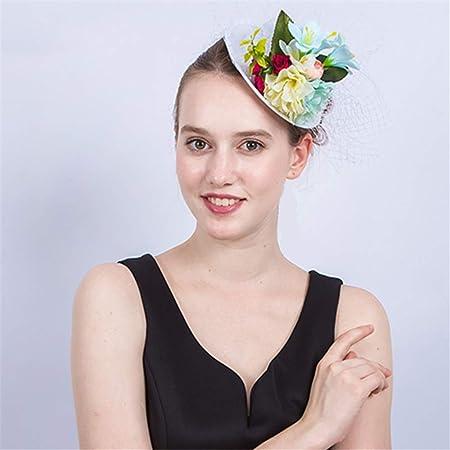 WYDM Sombrero Elegante para Mujer Cóctel Gorras de Halloween Pluma ...