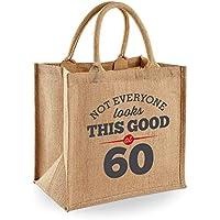 60th Birthday Keepsake Gift Jute Bag for Women Novelty Shopping Tote
