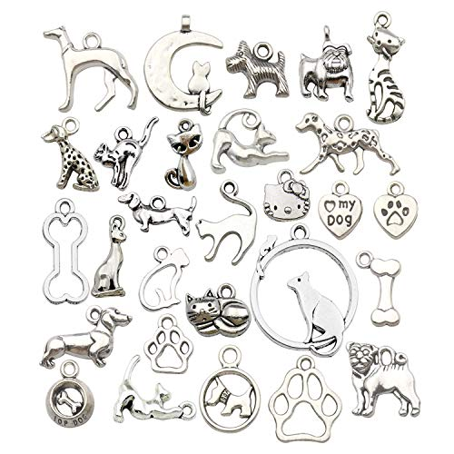 WOCRAFT 100g(80pcs) Craft Supplies Antique Silver Animals Cat Dog Pet Charms Pendants for Crafting, Jewelry Findings Making Accessory for DIY Necklace Bracelet - Cat Charm Jewelry