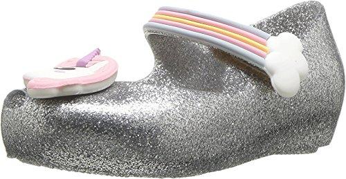 Melissa Girls Mini Ultragirl Unicorn Mary Jane Flat, Silver Glitz, Size 8 M US Toddler ()