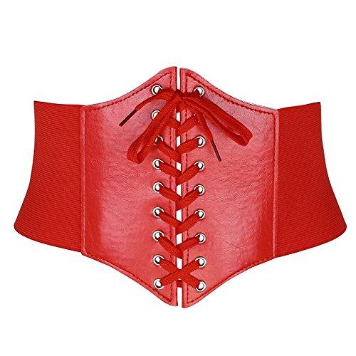 CHIC DIARY Women Elastic Wide Band Tied Waspie Corset Waist Cincher Belt (#05-Red)