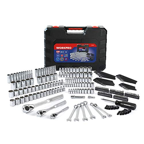 WORKPRO Socket Set, 230-piece Mechanics Tool Kit in Hard -