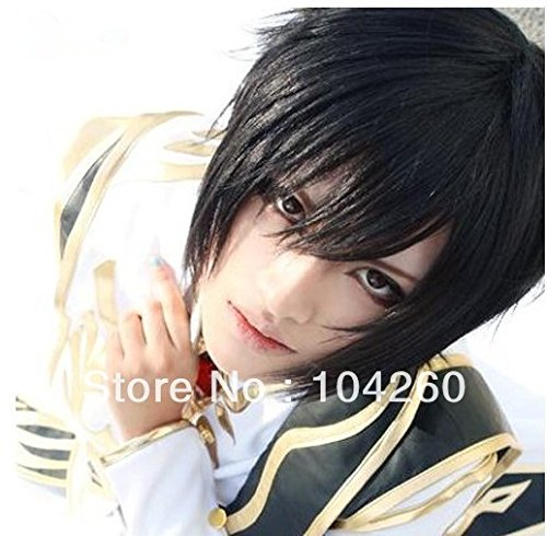 Price comparison product image Smile Japan Anime Code Geass Lelouch Lamperouge Black Short Cosplay Costume Wig+cap