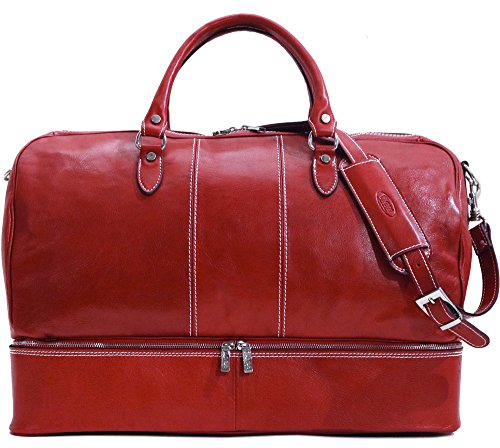 Venezia Traveler Leather Drop Bottom Duffle Bag by Floto