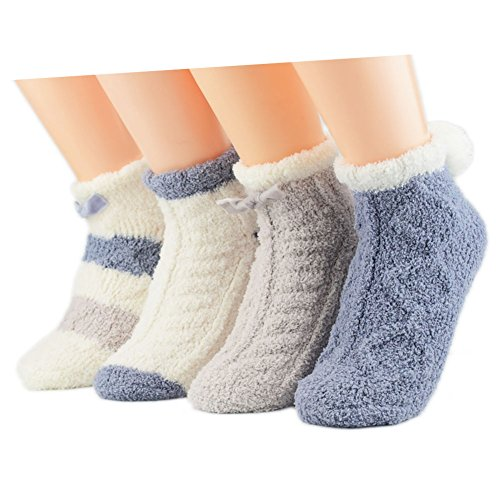 ick Warm Socks Girls Indoors Anti-Slip Winter Fluffy Fuzzy Socks (Blue) (Winter Chenille)