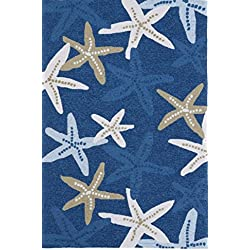 Bright Starfish Motif Area Rug, Featuring Animal Nature Design, Modern Novelty Coastal Themed Home Decor, Rectangle Teens Kids Indoor Outdoor Living Room Bedroom Playroom Carpet, Blue, 5' x 7'6""