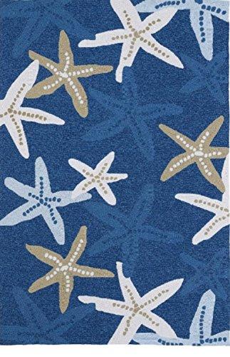 "Bright Starfish Motif Area Rug, Featuring Animal Nature Design, Modern Novelty Coastal Themed Home Decor, Rectangle Teens Kids Indoor Outdoor Living Room Bedroom Playroom Carpet, Blue, 5' x 7'6"""