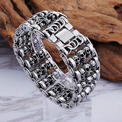 Aimrio Vintage Jewelry Mens Titanium Steel Bracelet Heavy Multi Skull Silver Charm Bracelets Biker Punk Rock