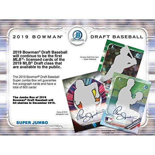 2019 Bowman Chrome Draft Picks - 2019 Bowman Draft Baseball Hobby Super Jumbo 6-Box Case (5 Packs/120 Cards: 5 Autos, 40 Refractor Parallels)