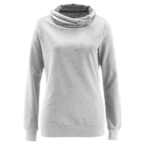 Chemise Sweat Confortable Coton Gris Manches Femme kingwo T Longues Automne en Shirt Montant col Loisirs Poche wAYtSxSRq