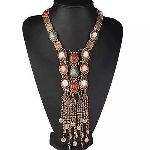 Tpocean vintage rétro Strass Argent Doré Turquoise longue Boho Bohème Plastron ethnique Tribal Collier pour femme