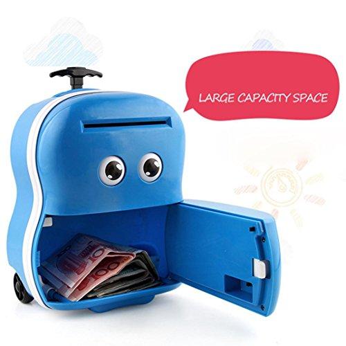 968 Cartoon ATM Machine Password Automatic Money Saving Box Children's Toy (blue) (Atm Savings Machine)