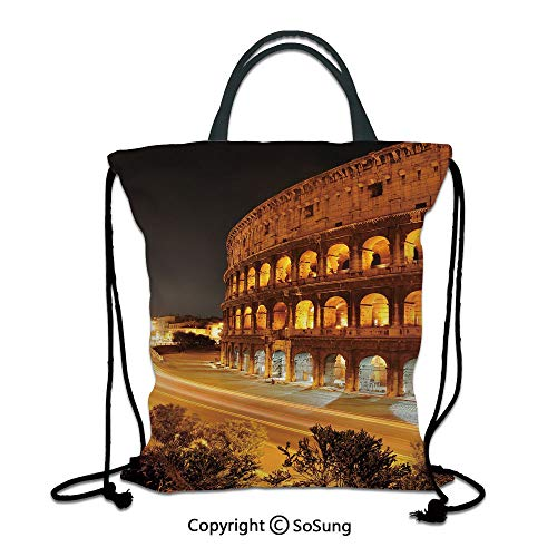 Italy 3D Print Drawstring Bag String Backpack,Colosseum at Night Scenery Rome European City Heritage Monument Landscape,for Travel Gym School Beach Shopping,Amber Marigold Black ()