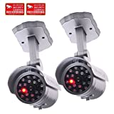 VideoSecu 2 Pack Dummy Security Cameras Bullet Fake IR Infrared LEDs Flashing Light Home Surveillance with Free Warning Decals 1RH, Best Gadgets