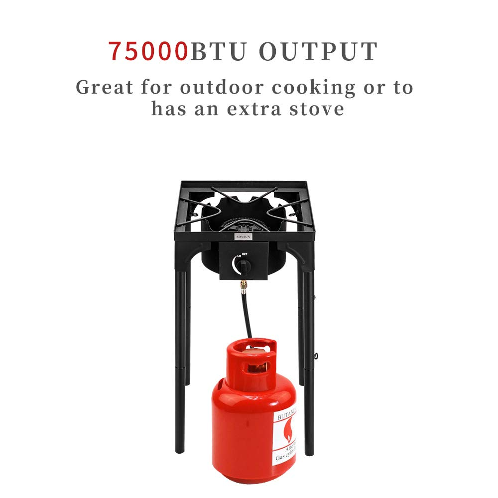 ROVSUN Portable Outdoor Burner High Pressure, Propane Single Gas Stove Cooker for Home Brewing Camp Cooking Turkey Frying Maple Syrup Boil, CSA Listed Regulator