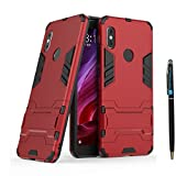 Redmi Note 5 Pro Heavy Duty Case DWaybox 2 in 1 Hybrid Armor Hard Back Case Cover with Kickstand for Xiaomi Redmi Note 5 Pro/Redmi Note 5 5.99 Inch (Marsala Red)