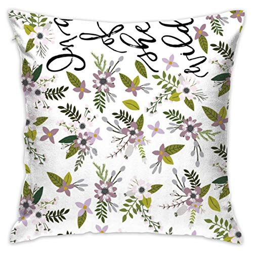 Throw Pillow Case Lavender Sprigs and Blooms in A Field of Roses, She is A Wildflower Crib Sheet_1316 Cushion Covers for Chair, 18x18 inches, 45x45 cm