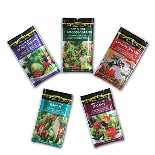Walden Farms Calorie Free Dressing 10 x 1 oz - Assortment Healthy Salad Sauces - 2 in every Flavor of Ranch, Italian, Creamy Bacon, Thousand Island, and Honey Dijon | Carb-Free Food with Gift Box high-quality