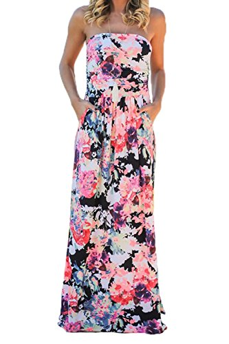 Print Tube Maxi Dress (FOUNDO Women's Floral Print Strapless Tube Bohemian Beach Long Maxi Dress L)