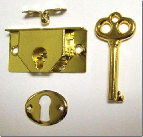 M-1880 - BRASS PLTD STEEL HALF MORTISE CHEST LOCK 1-3/4''wide x 7/8''high x 1/4''