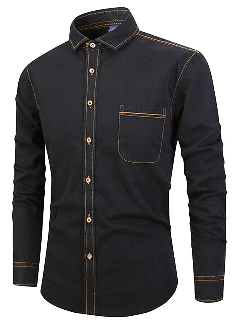 Joe Wenko Mens Long Sleeve Denim Casual Classical Jean Shirts