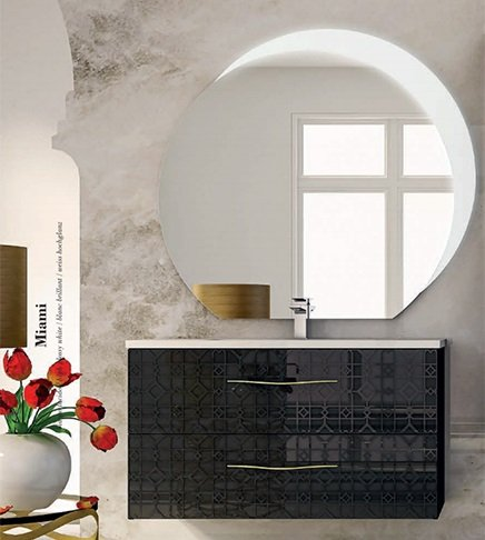 Mobile bagno sospeso moderno Floreale Miami nero,cm 100, specchio ...