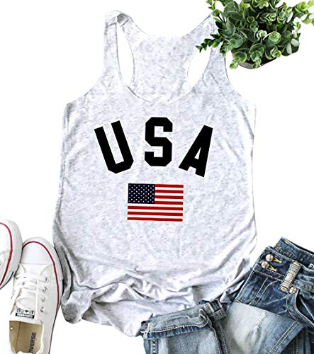 (LAMOSKY USA Stars and Stripes Flag Graphic Tank Top for Women Patriotic Sleeveless Racerback Vest Shirt Size L (White))