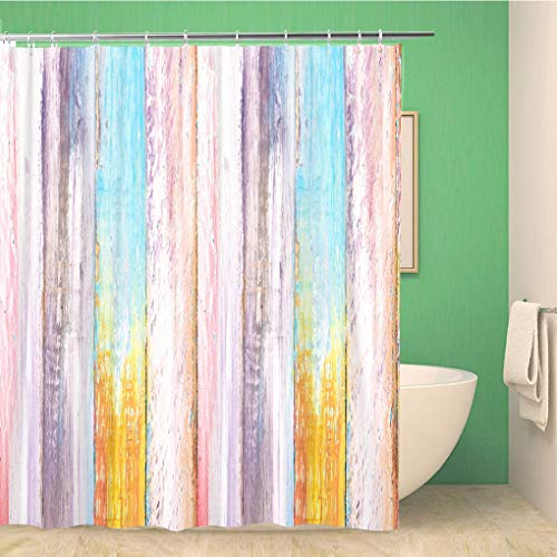 Awowee Bathroom Shower Curtain Green Paint Colorful Wooden Pink Blue Sky Purple Wood 72x78 inches Waterproof Bath Curtain Set with Hooks