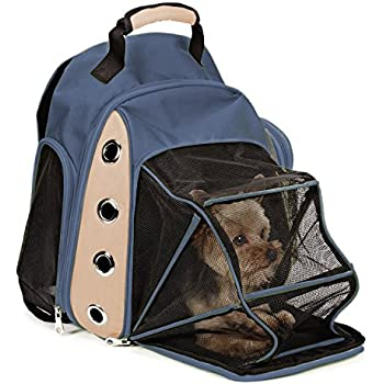 Multiple Deluxe Dog Carrier Mesh Travel Backpack Double Shoulders Straps Bag for Small Pet Puppy Cat Dark Grey