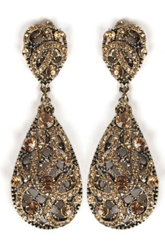 Antique Goldtone with Amber Iced Out Vine Twist Teardrop Shaped 3.25 Inch Dangle Clip on Earrings (R-3772)