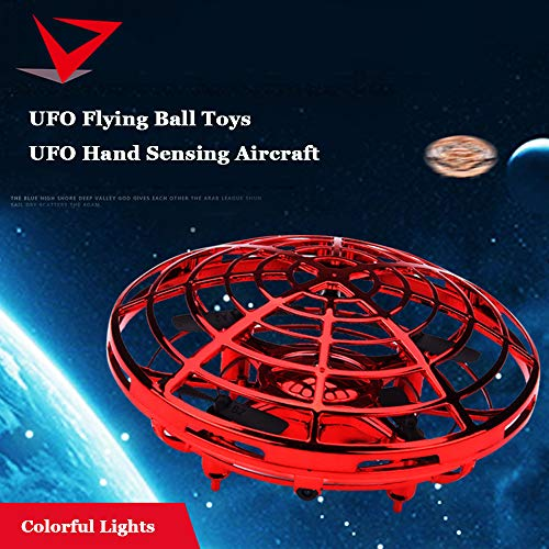 UFO Flying Ball Toys, Gravity Defying Hand-Controlled Suspension Helicopter Toy, Infrared Induction Interactive Drone Indoor Flyer Toys with 360° Rotating for Kids, Teenagers Boys Girls (Red) by ZD-SPORT (Image #1)