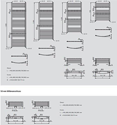 RAL 9016 Handtuchheizk/örper Breite: 450 mm Buderus Badheizk/örper gerade Logatrend Therm direct m 1500 mm Mittenanschluss